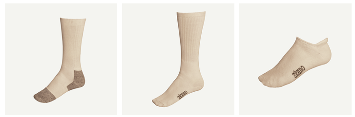 100% all natural and organic cotton socks from Zkano